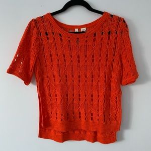 Moth for Anthropologie Orange Knit Short Sleeve